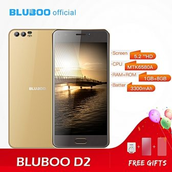 D2 5.2-Inch HD (1GB,8GB ROM) Android 6.0 Marshmallow, (8MP + 3MP) + 8MP Dual Rear Camera 3G Smartphone - Gold
